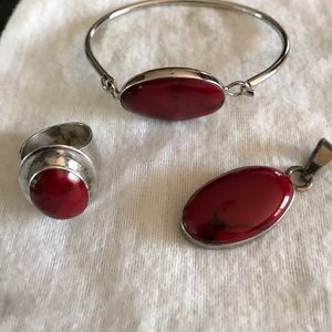 Beautiful sterling silver, red coral jewelry set.